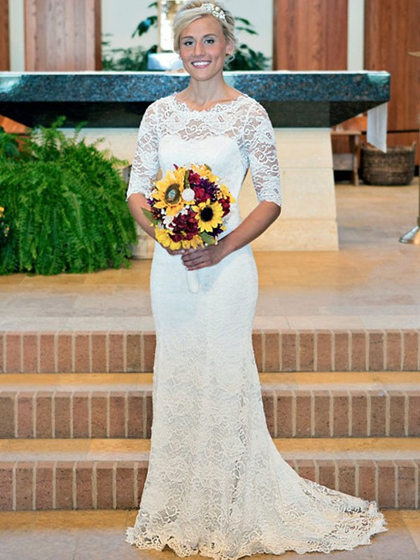Sheath/Column Ruched Scoop 1/2 Sleeves Sweep/Brush Train Lace Wedding Dresses