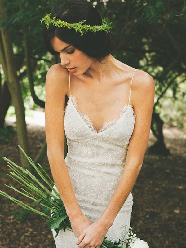 Trumpet/Mermaid Ruffles Spaghetti Straps Sleeveless Sweep/Brush Train Lace Wedding Dresses