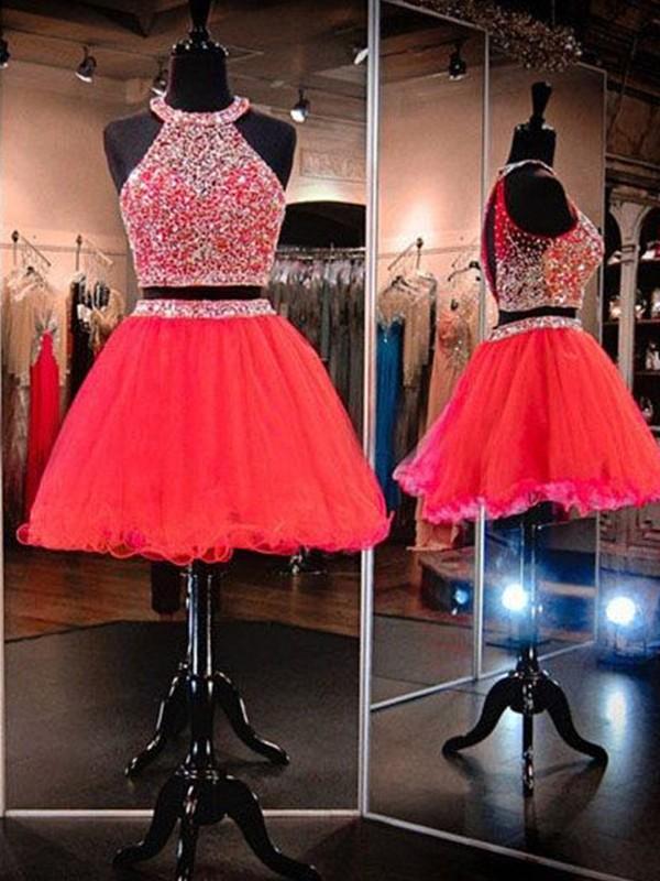 A-Line/Princess Beading Halter Sleeveless Short/Mini Tulle Two Piece Dresses