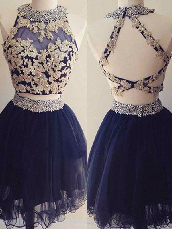 A-Line/Princess Applique Halter Sleeveless Short/Mini Tulle Two Piece Dresses