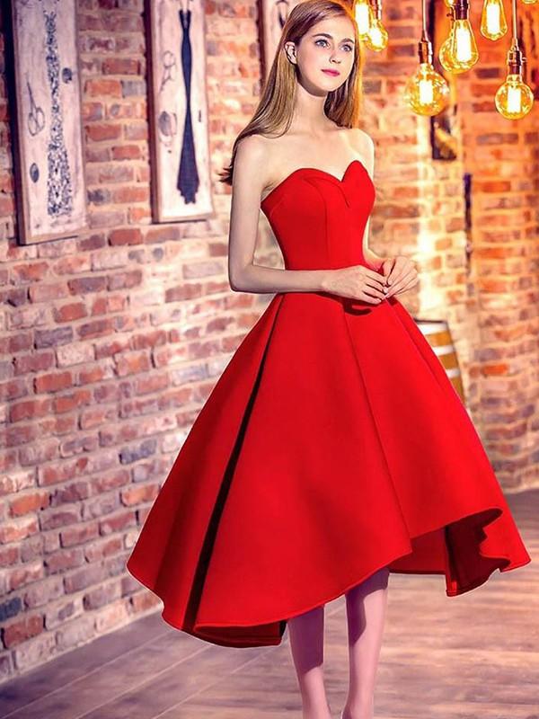 A-Line/Princess Ruffles Sweetheart Sleeveless Short/Mini Satin Dresses