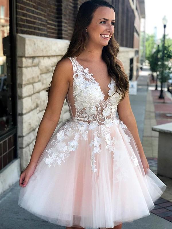 A-Line/Princess Applique V-neck Sleeveless Short/Mini Tulle Dresses