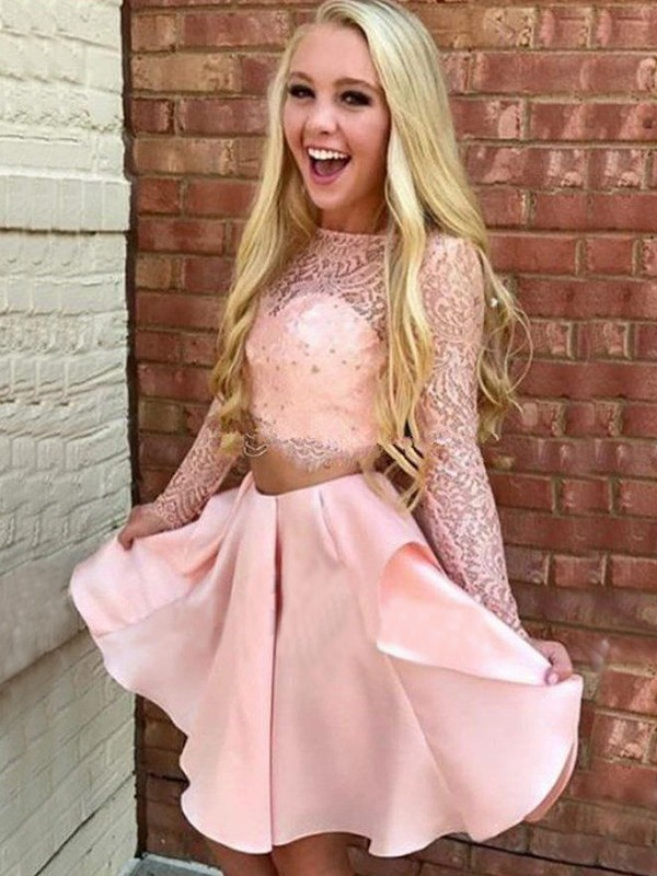 A-Line/Princess Lace High Neck Long Sleeves Short/Mini Satin Two Piece Dresses