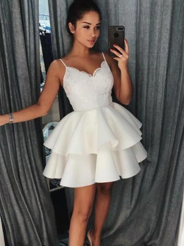 A-Line/Princess Ruffles Spaghetti Straps Sleeveless Short/Mini Satin Dresses