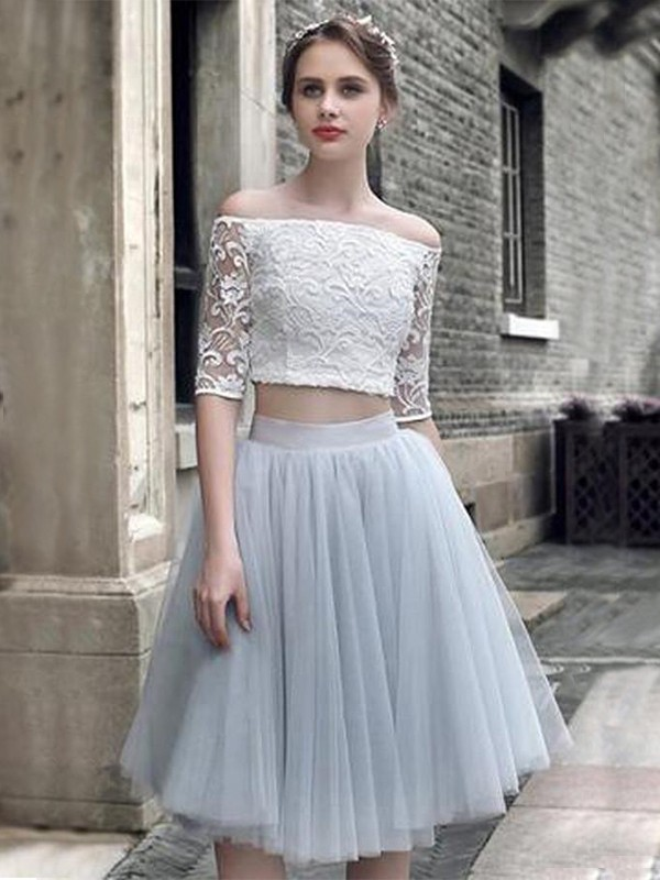 A-Line/Princess Ruched Off-the-Shoulder 1/2 Sleeves Knee-Length Tulle Two Piece Dresses