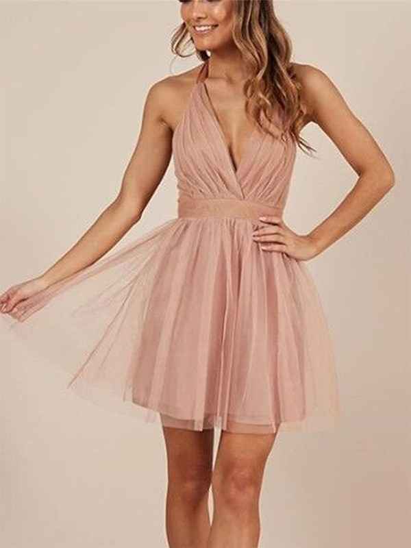 A-Line/Princess Ruffles Halter Sleeveless Short/Mini Tulle Dresses