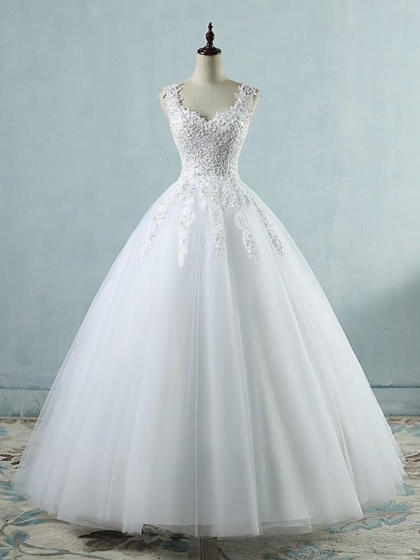 Ball Gown Applique Sweetheart Sleeveless Floor-Length Tulle Wedding Dresses