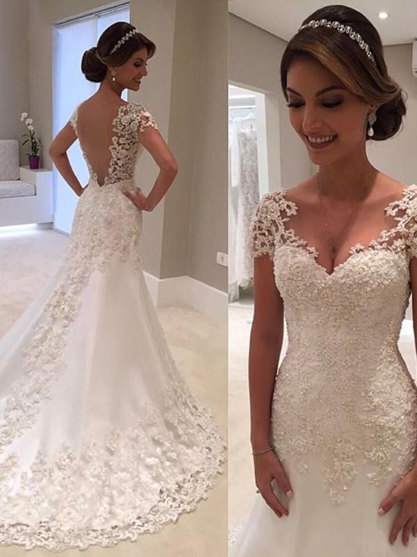 Trumpet/Mermaid Sweetheart Short Sleeves Sweep/Brush Train Lace Wedding Dresses
