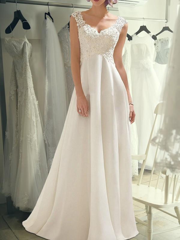 Empire Lace V-neck Sleeveless Floor-Length Chiffon Wedding Dresses