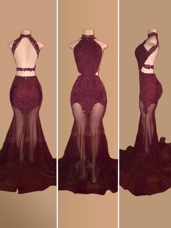 Trumpet/Mermaid Applique Halter Sleeveless Court Train Tulle Dresses