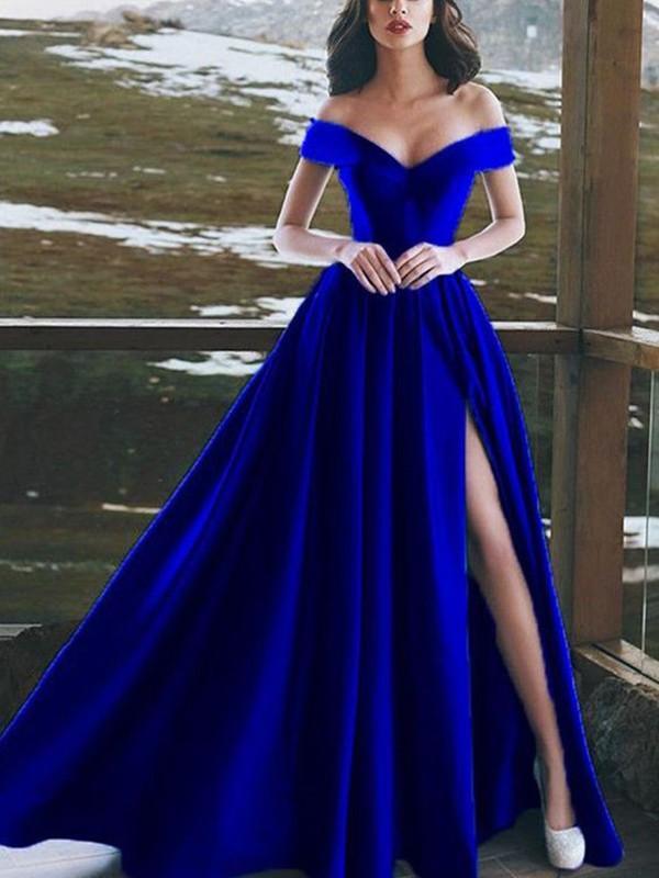 A-Line/Princess Ruffles Off-the-Shoulder Sleeveless Floor-Length Satin Dresses