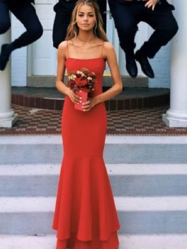 Sheath/Column Layers Spaghetti Straps Sleeveless Floor-Length Satin Dresses