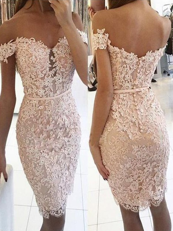 Sheath/Column Lace Off-the-Shoulder Sleeveless Knee-Length Homecoming Dresses
