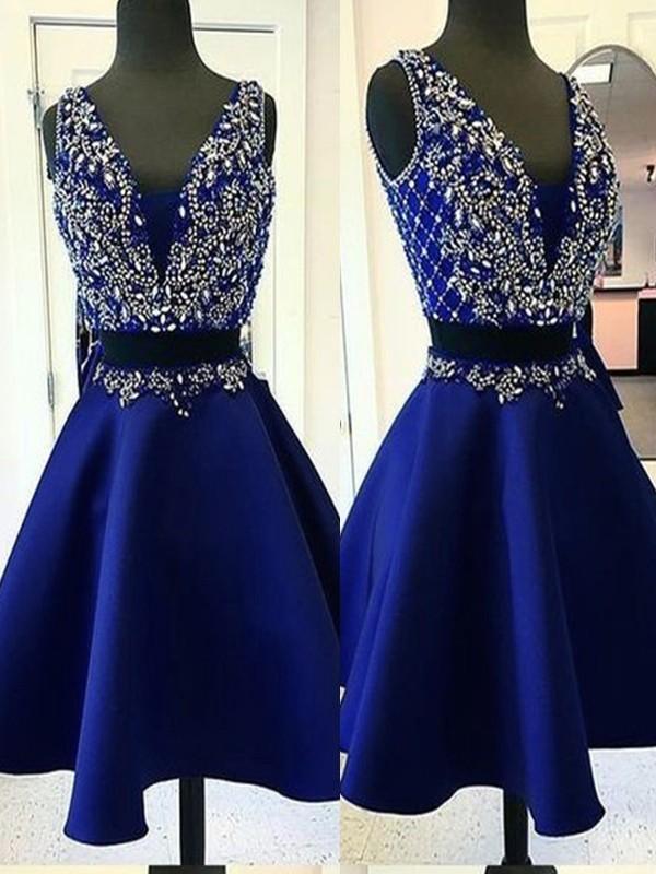 A-Line/Princess Satin Beading V-neck Sleeveless Short/Mini Two Piece Homecoming Dresses
