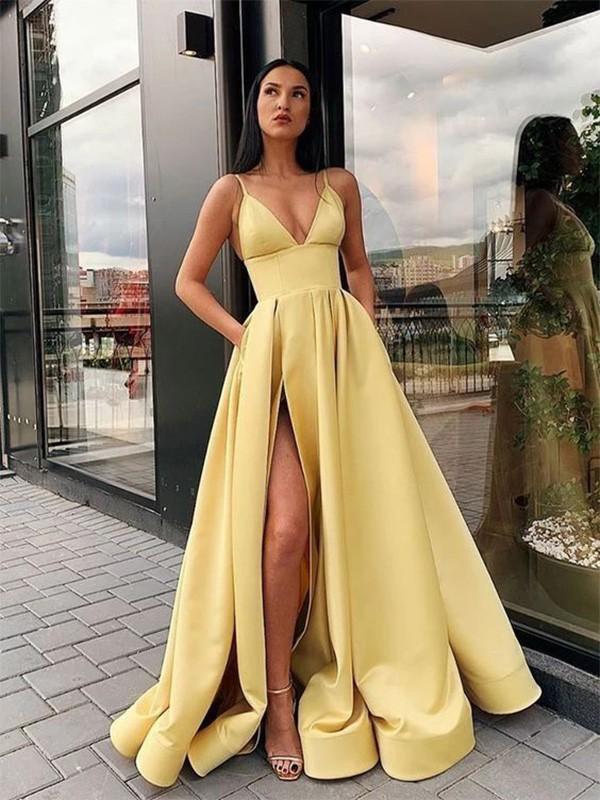 A-Line/Princess Ruffles Satin Spaghetti Straps Sleeveless Floor-Length Dresses