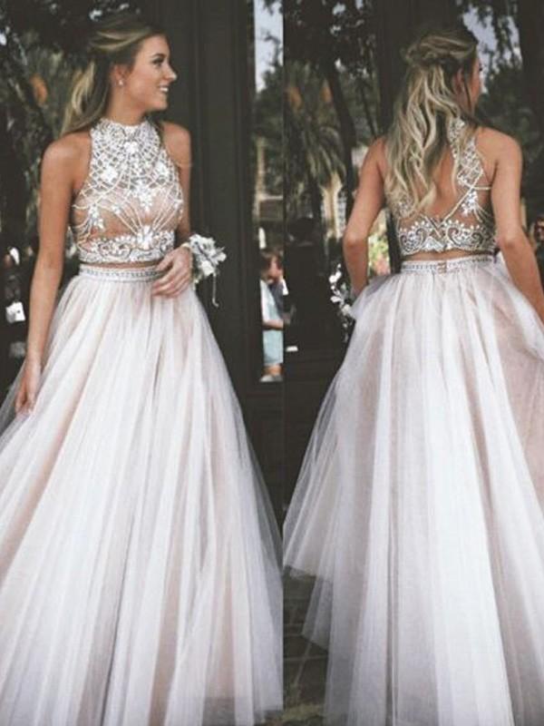 A-Line/Princess Beading High Neck Sleeveless Floor-Length Tulle Dresses