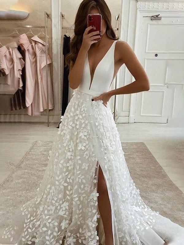A-Line/Princess V-neck Stretch Crepe Applique Sweep/Brush Train Sleeveless Wedding Dresses