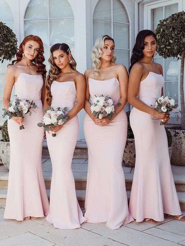 Sheath/Column Strapless Ruffles Sleeveless Satin Floor-Length Bridesmaid Dresses