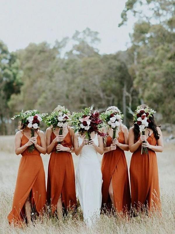 A-Line/Princess V-neck Satin Sleeveless Ruffles Floor-Length Bridesmaid Dresses