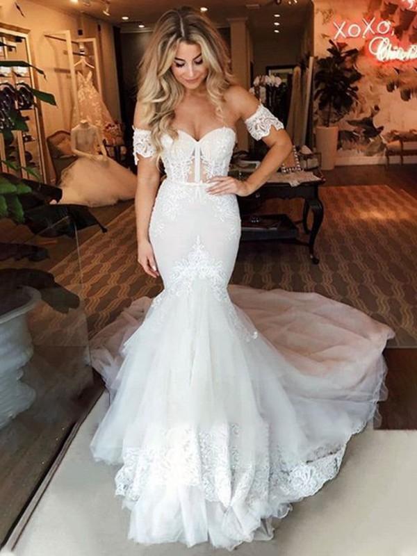 Trumpet/Mermaid Tulle Sweetheart Sleeveless Applique Sweep/Brush Train Wedding Dresses