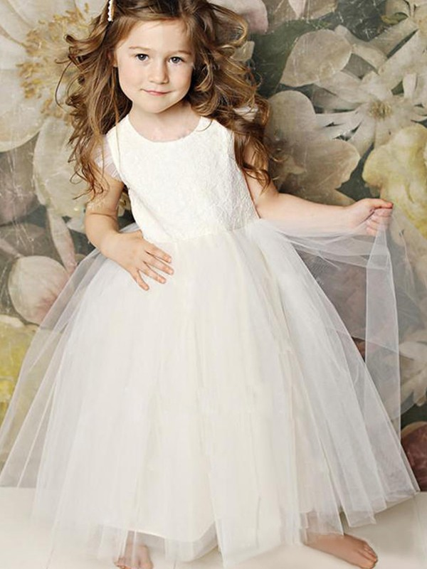 A-Line/Princess Short Sleeves Tulle Lace Scoop Floor-Length Flower Girl Dresses