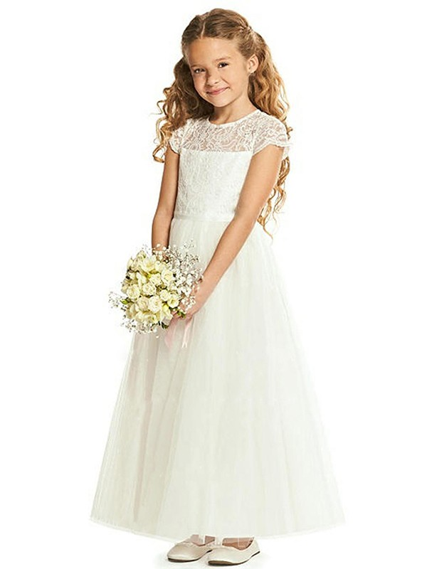 A-Line/Princess Tulle Lace Scoop Short Sleeves Ankle-Length Flower Girl Dresses