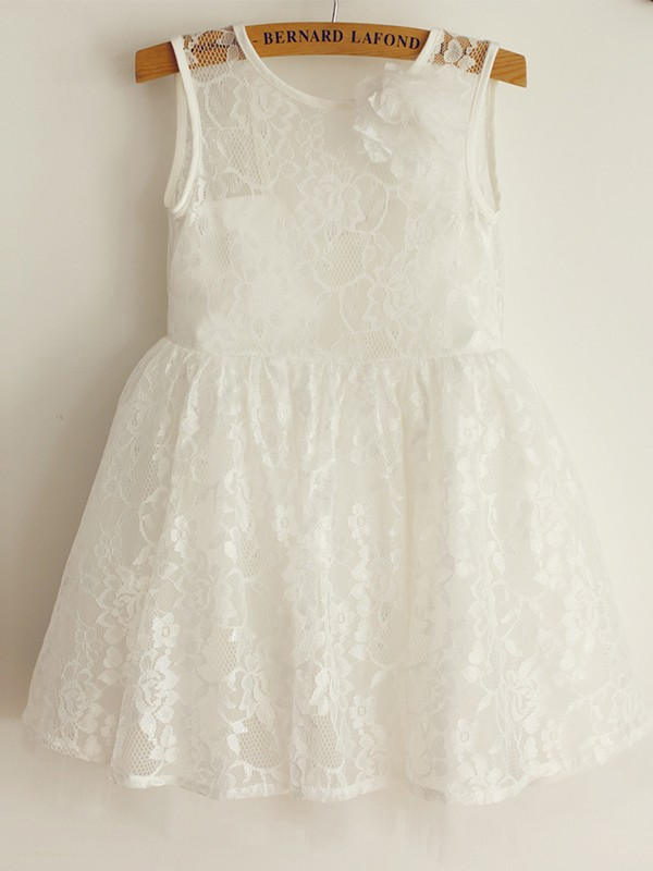 A-Line/Princess Sleeveless Straps Tulle Lace Knee-Length Flower Girl Dresses