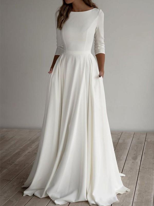 A-Line/Princess Satin Ruffles Scoop 3/4 Sleeves Floor-Length Wedding Dresses
