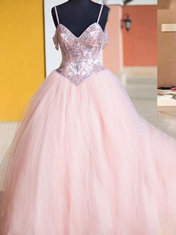 Ball Gown Crystal Spaghetti Straps Sleeveless Floor-Length Tulle Dresses