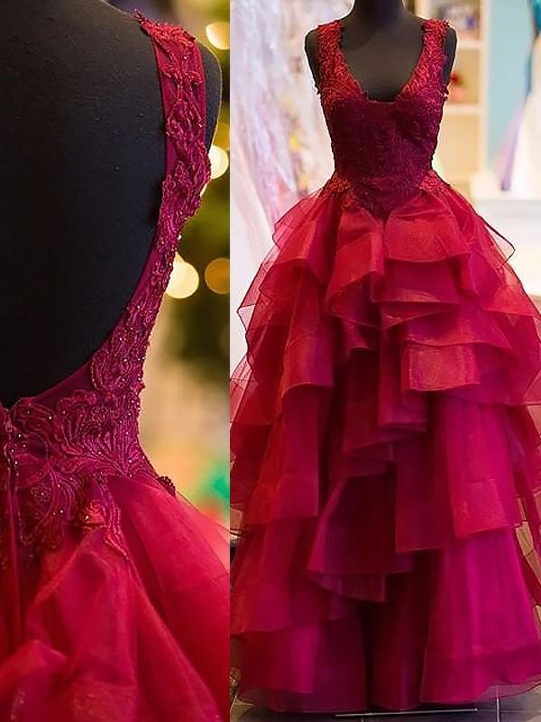 Ball Gown Applique V-neck Sleeveless Floor-Length Tulle Dresses