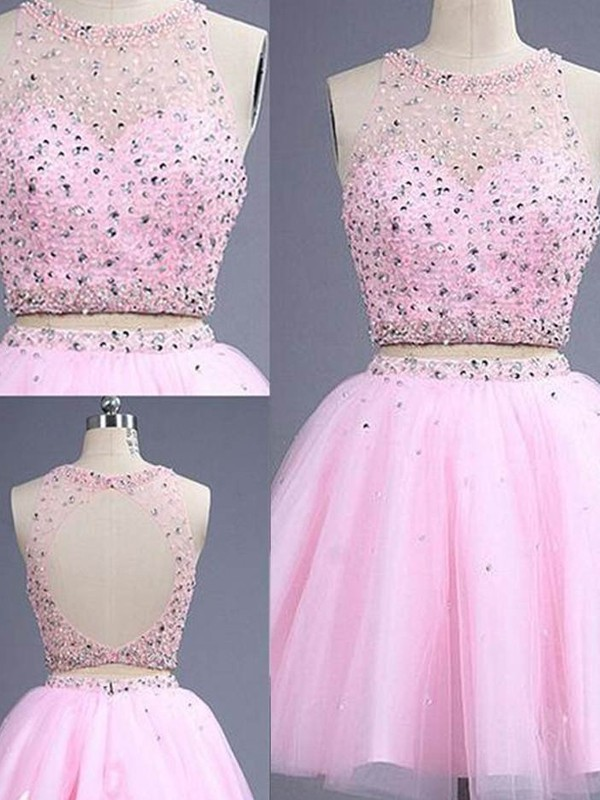 A-Line/Princess Beading Scoop Sleeveless Short/Mini Tulle Two Piece Dresses