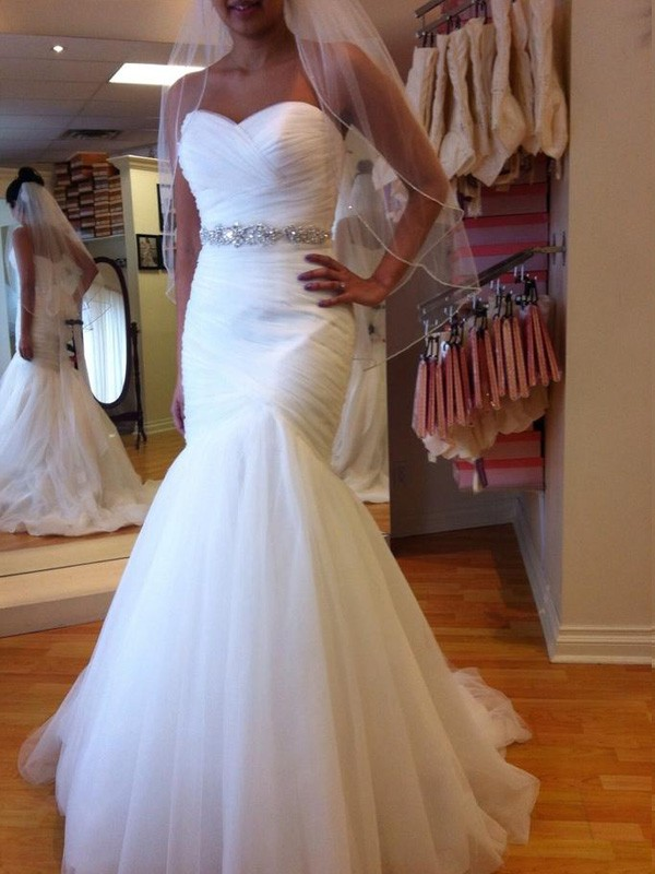 Trumpet/Mermaid Beading Sweetheart Sleeveless Court Train Tulle Wedding Dresses