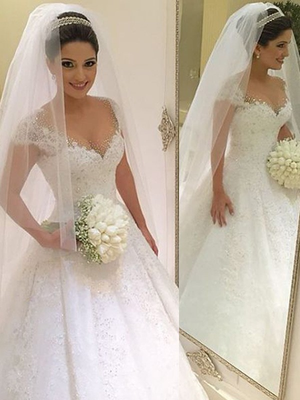 Ball Gown Beading V-neck Sleeveless Floor-Length Tulle Wedding Dresses