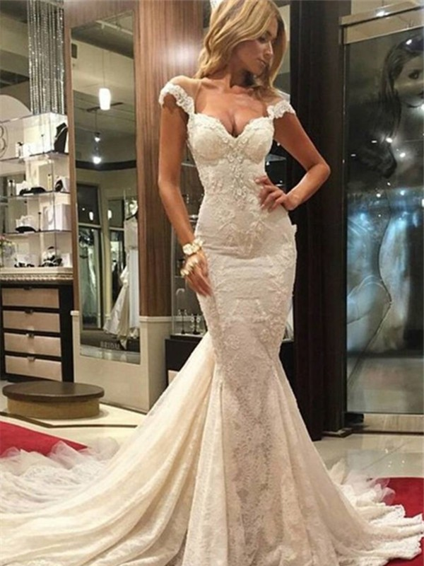 Trumpet/Mermaid Lace V-neck Sleeveless Chapel Train Lace Wedding Dresses