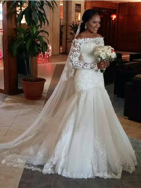 Trumpet/Mermaid Lace Off-the-Shoulder Long Sleeves Sweep/Brush Train Tulle Wedding Dresses