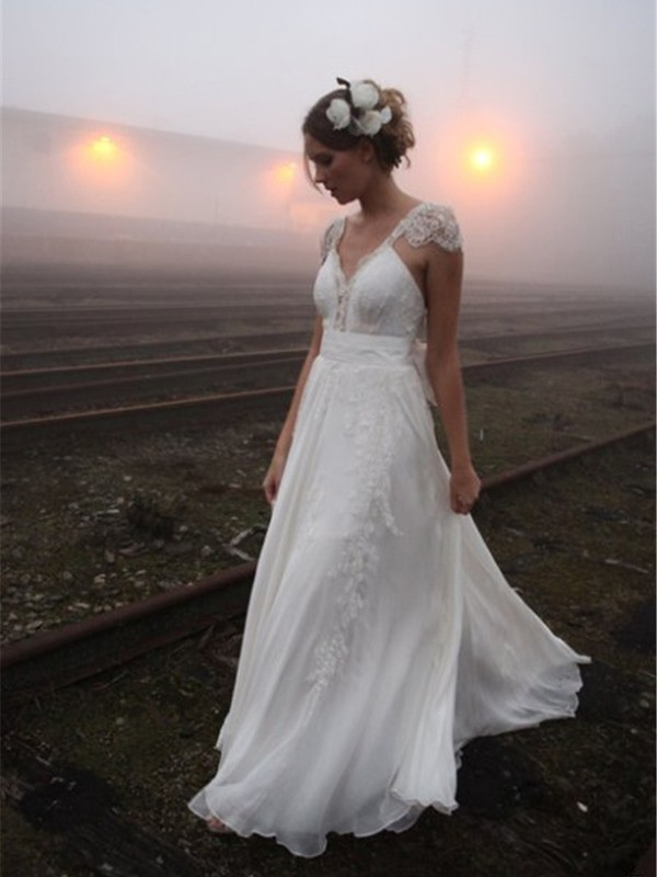 A-Line/Princess Lace V-neck Sleeveless Chiffon Wedding Dresses