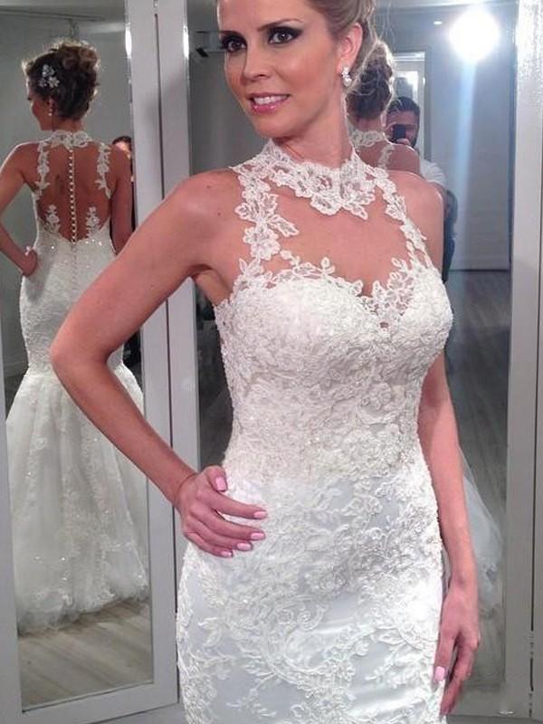 Trumpet/Mermaid Lace High Neck Sleeveless Floor-Length Tulle Wedding Dresses