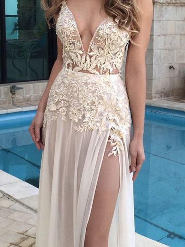A-Line/Princess Applique V-neck Sleeveless Floor-Length Chiffon Dresses