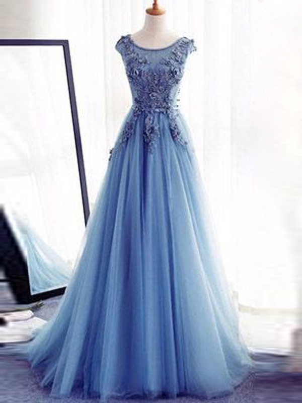 Ball Gown Applique Jewel Sleeveless Sweep/Brush Train Tulle Dresses