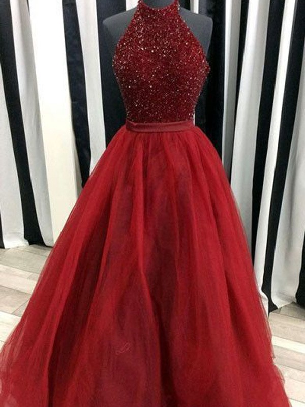 Ball Gown Beading High Neck Sleeveless Floor-Length Organza Dresses