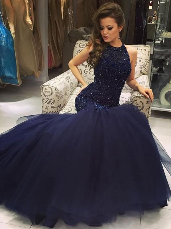 Trumpet/Mermaid Beading Jewel Sleeveless Floor-Length Tulle Dresses