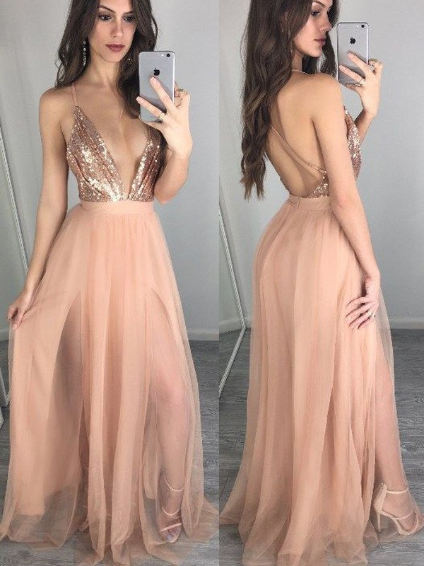A-Line/Princess Sequin Spaghetti Straps Sleeveless Floor-Length Chiffon Dresses