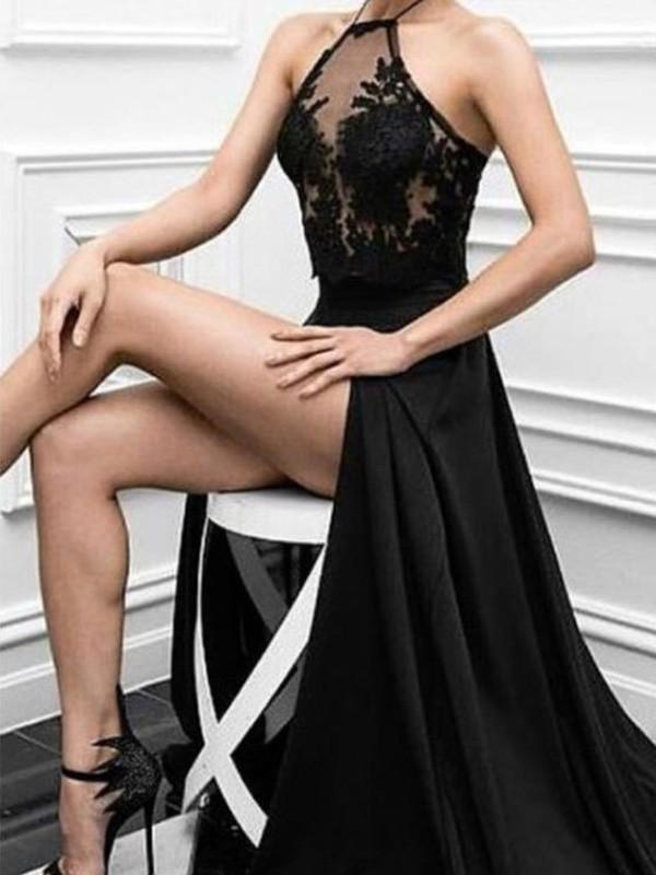 A-Line/Princess Applique Halter Sleeveless Floor-Length Elastic Woven Satin Dresses