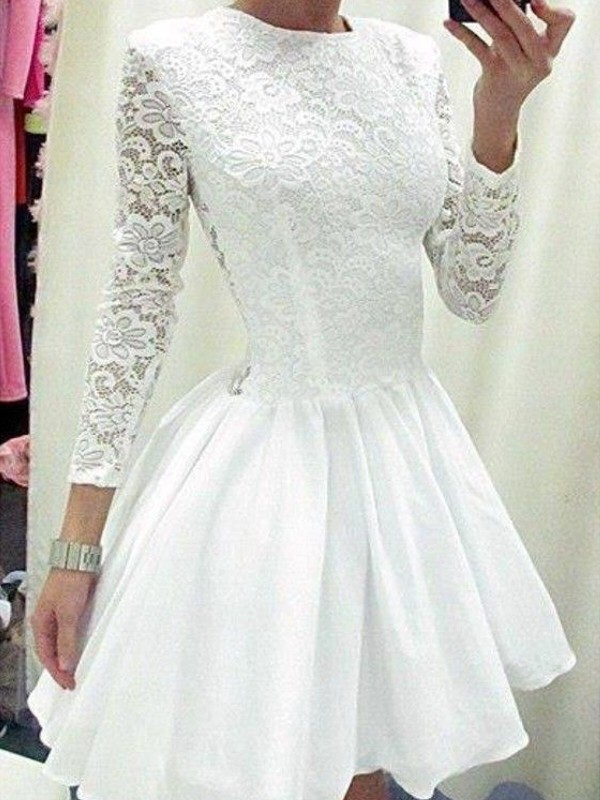A-Line/Princess Lace Scoop Long Sleeves Short/Mini Chiffon Dresses