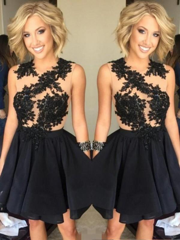 A-Line/Princess Lace Scoop Sleeveless Short/Mini Chiffon Dresses