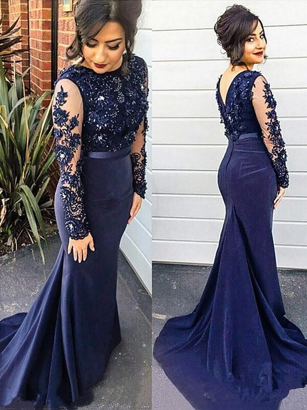 Trumpet/Mermaid Lace Scoop Long Sleeves Sweep/Brush Train Silk like Satin Plus Size Dresses