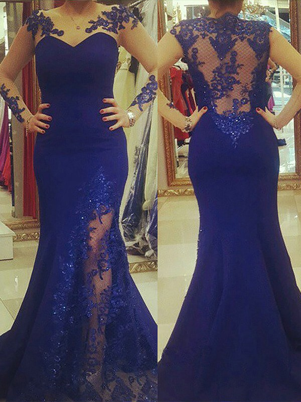 Trumpet/Mermaid Applique Scoop Long Sleeves Sweep/Brush Train Silk like Satin Plus Size Dresses