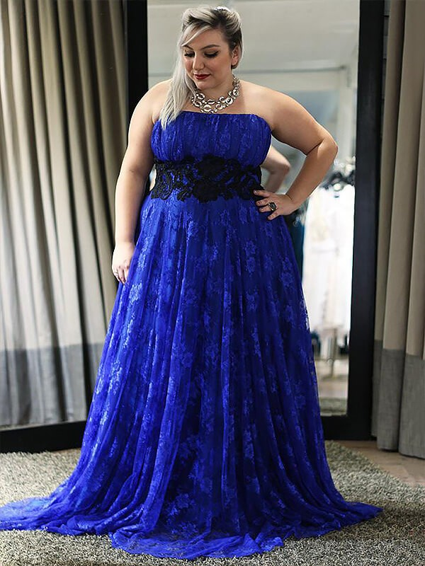 A-Line/Princess Applique Strapless Sleeveless Floor-Length Lace Plus Size Dresses
