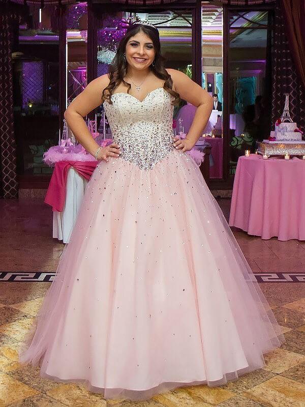 Ball Gown Beading Sweetheart Sleeveless Floor-Length Tulle Plus Size Dresses