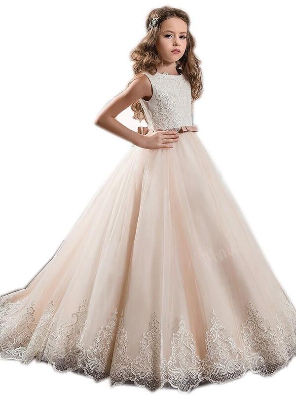 Ball Gown Lace Jewel Sleeveless Sweep/Brush Train Tulle Flower Girl Dresses
